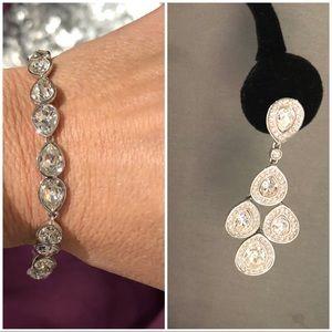 Swarovski Crystal Teardrop Bracelet Earring Bride